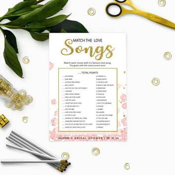 Pink and Gold Match the Movie Love Songs Bridal Shower Game-Golden Glitter Floral Personalized Love Song Game-Printable  Bridal Shower Game