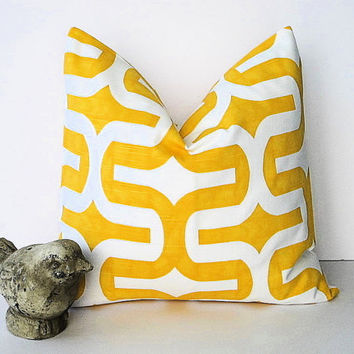 "YELLOW Decorative Throw Pillow Cover ONE 20 x 20 inch Corn on White Slub Pillow Designer Fabric Embrace Premier Prints 20"" Modern.Geometric"