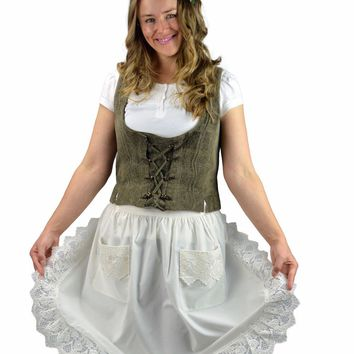 Dutch Lace Adult Half Apron Ecru Maid Costume