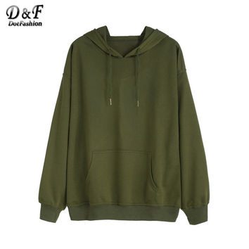 Dotfashion Army Green Drawstring Pocket Hooded Tops Women Solid Clothing Long Sleeve Pullovers Sweatshirt