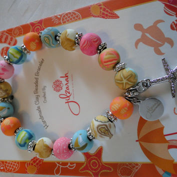 JILZARA Clay Beads ON VACATION BEACH Turtle Starfish Petite 8mm Bracelet