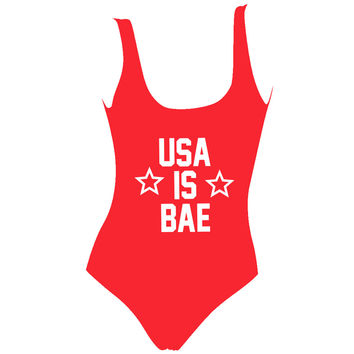 USA Is BAE Red  Swimsuit