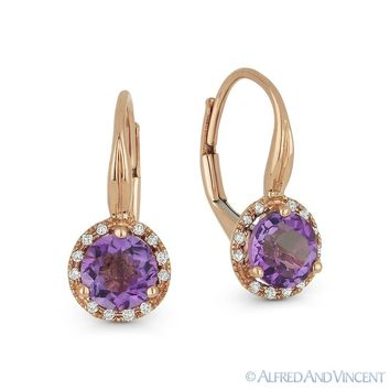 1.67 ct Amethyst & Diamond 14k Rose Gold Dangling Drop Leverback Baby Earrings
