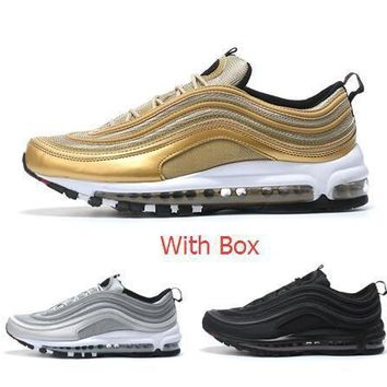 Max 97 OG Metallic Gold Silver Bullet Running Shoes with Box Men and Women Fast shippi
