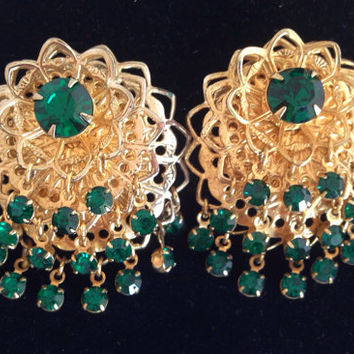 Vintage Green Waterfall Rhinestone Clip Earrings - Emerald rhinestones - clip-on st patricks crystal clip ons clips spring greens - filigree
