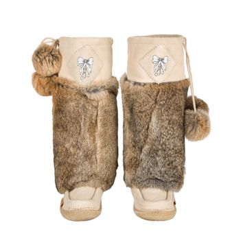 Loveable Beige Suede Mukluks with White Embroidery