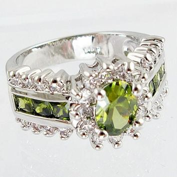 Fashion Women 925 Sterling  Silver Peridot & White Topaz Gemstones Rings Size 6 7 8 9 10 = 1946107972