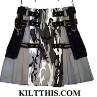 Utility Kilts Urban Camo Adjustable Custom Interchange Parts Large Cargo Pockets