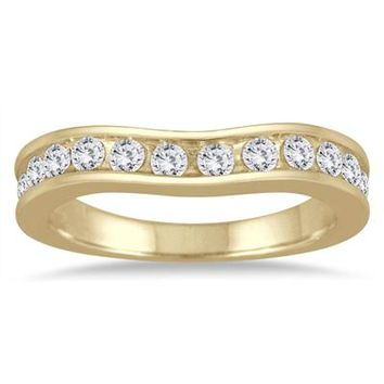 1 Carat Diamond Channel Set Curved Band in 14K Yellow Gold