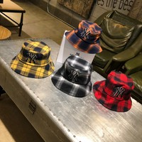 """New York Yankees"" Unisex Casual Tartan Letter Embroidery Bucket Hat Fisherman Cap Couple Fashion Sun Hat"