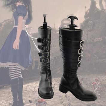 New Arrival Customized Alice Madness Returns Cosplay Boots Shoes