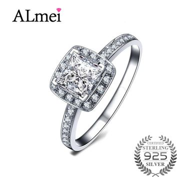 Almei 925 Sterling Silver Square Vintage Fascination Clear CZ Big Ring for Women Luxury Gemstone Jewelry with Box 40% LJ074