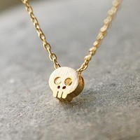 BLUSHED SURFACE GOLD SKULL NECKLACE SKULL PENDANT NECKLACE SKULL JEWELRY by Kellinsilver.com - Fashion and Costume Jewelry Shop as ETSY