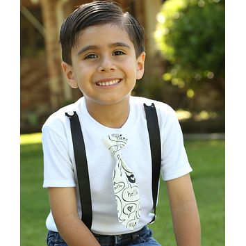 Toddler Boy Clothes Trendy Black and White Hello Tie Cute for Brothers