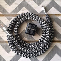 New Super Cute Chevron Designed Loom Banded 4ft Certified Cable Cord + Black & White ZigZag Designed Dual USB Connector Tangle Free