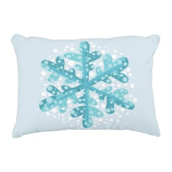 Blue Snowflake Christmas and Winter Decor Pillow