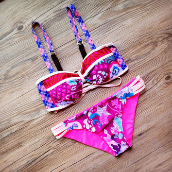 Lattice Printing Bikini Set Beach Swimwear Wommen Swimsuit