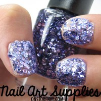 Amethyst Violet - Large Purple Specks Glitter Nail Polish 9.8ml from nailartsupplies