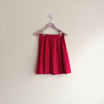 Vintage 90s Pleated Red Skirt - Red Pleated Skirt Red High Waisted Skirt Pleated High Waisted Skirt Red School Girl Skirt Red School Skirt