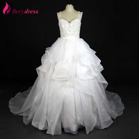 Real Photo Berydress Hot Sale Discounted Puffy Ball Gown Full Beaded Pearls Sequined Wedding Dress 2016 mariage Wedding Gowns