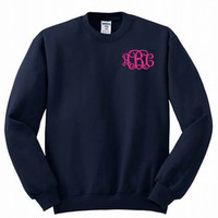 Monogrammed Sweatshirt Embroidered available in 24 colors
