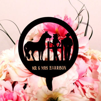 Personalized Western Couple Cake Topper Option 2