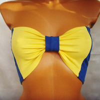 Sport Underwear Bandeau Yoga Summer Bra Tube Strapless Top In Bright Sunny Plain Yellow and Blue Swedish Flag Sweden Bow Ribbon By Cvetinka