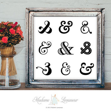 Printable Art Ampersand Art Typographic art print Letter art Alphabet art print Minimalist art Zen art print instant download art prints