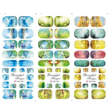 1 Sheets Water Transfer New Nail Designs Green/Blue/Yellow Forest Full Tips Nail Art Sticker Nail Wraps HOT340-342