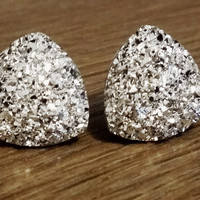 Druzy earrings-  Triangle iridescent Silver druzy earrings