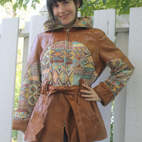 Hooded Hippie Jacket Vinyl PVC Mod Maid Caramel Quilted Print