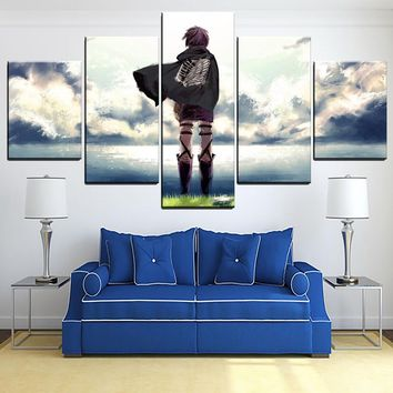 Cool Attack on Titan Wall Art 5 Piece  Anime Scouting Legion Modular Picture Modern Home Decor Artwork Canvas Painting HD Print Poster AT_90_11