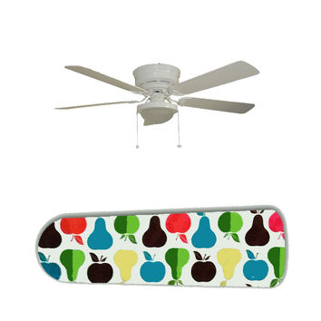 """Mid Century Modern Apples and Pears 52"""" Ceiling Fan and Lamp"""