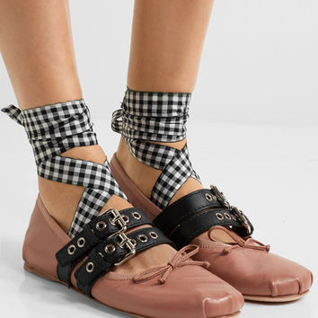 Miu Miu - Lace-up leather ballet flats