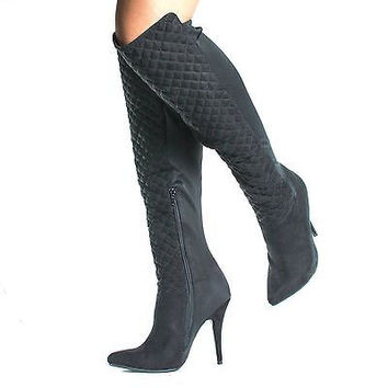 Lonestar34 Black Pu By Anne Michelle, Knee High Quilted Padding Stiletto High Heel Boots