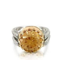 Tryo Designer Rings Gold Champagne Cubic Zirconia Sterling Silver & Rose Gold Ring