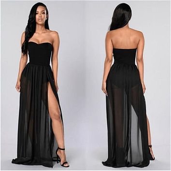 Women See Through Sheer Side Split High Waist Skirt Black Solid Transparent Chiffon Empire Pleated Maxi Long Skirt Summer Hot