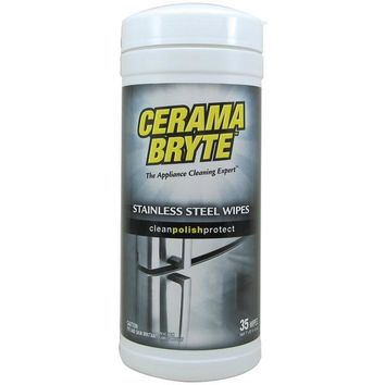 Cerama Bryte(R) 48635 Stainless Steel Cleaning Wipes, 35-ct