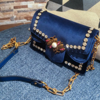 Velvet bag new velvet metal diamond lock small square bag shoulder Messenger chain package