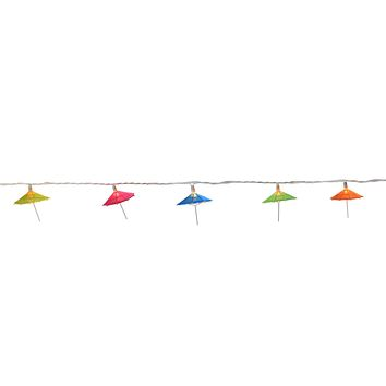 Set of 10 Colorful Sun Umbrella Patio and Garden Novelty Christmas Lights - White Wire