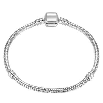 Octbyna 6 Stylle 17-21cm Silver Color Charm Bracelet Fits Diy Snake Chain Brand Bracelet For Women Wedding Jewelry