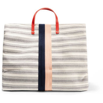 Clare V - Simple textured leather-trimmed striped canvas tote