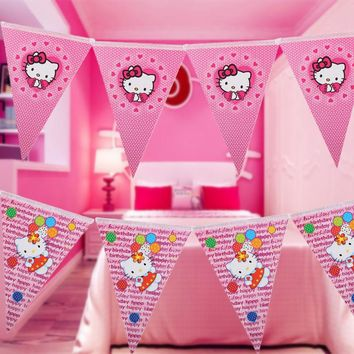 10pcs Flag Pink Cartoon Hello Kitty Banner for Baby Shower Girls Birthday Party Decor Paper Flags Banners Wedding Pennants