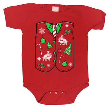 Ugly Sweater Vest Merry Christmas xmas funny baby one piece non-toxic, water-based inks jumper Bodysuit Creeper Dirty ML-1109