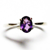 "Amethyst, amethyst ring, birthstone ring, solitaire ring, purple,  s 8 ""Purple Power"""