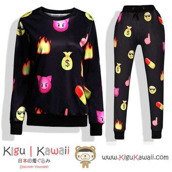 New Devil Cat Pattern Kawaii Style Round-Neck Sweater and Jogging Pants KK650