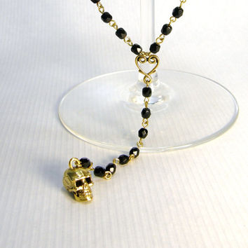 Black Crystal and Gold Heart and Skull Rosary Style Extra Long Necklace
