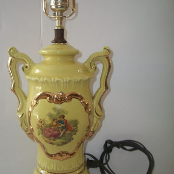 1960's Table Lamp French Victorian Stlye Porcelain Courting Couple Scene Urn Style Handles Rare Color