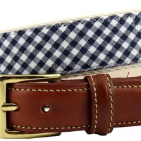 Gingham Leather Tab Belt in Navy on Natural Canvas  by Country Club Prep