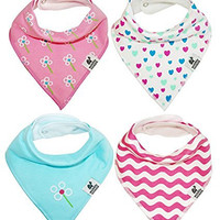 WobblyNoddle Baby Bandana Drool Bibs + Snaps Girls 4-Pack. Organic Cotton Gift